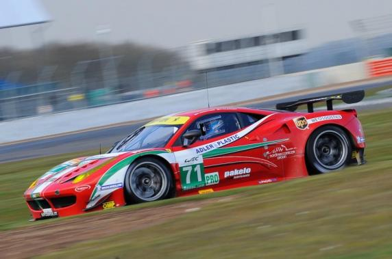 """6 Hours of Silverstone\"": Kamui Kobayashi on the podium in his first GT race. In the Ferrari 458 Italia GT2 of AF Corse also Toni Vilander"