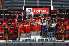 "Double win in the ""Total 24 Hours of Spa"" for the AF Corse Ferrari 458's. Title for Cameron and Griffin"